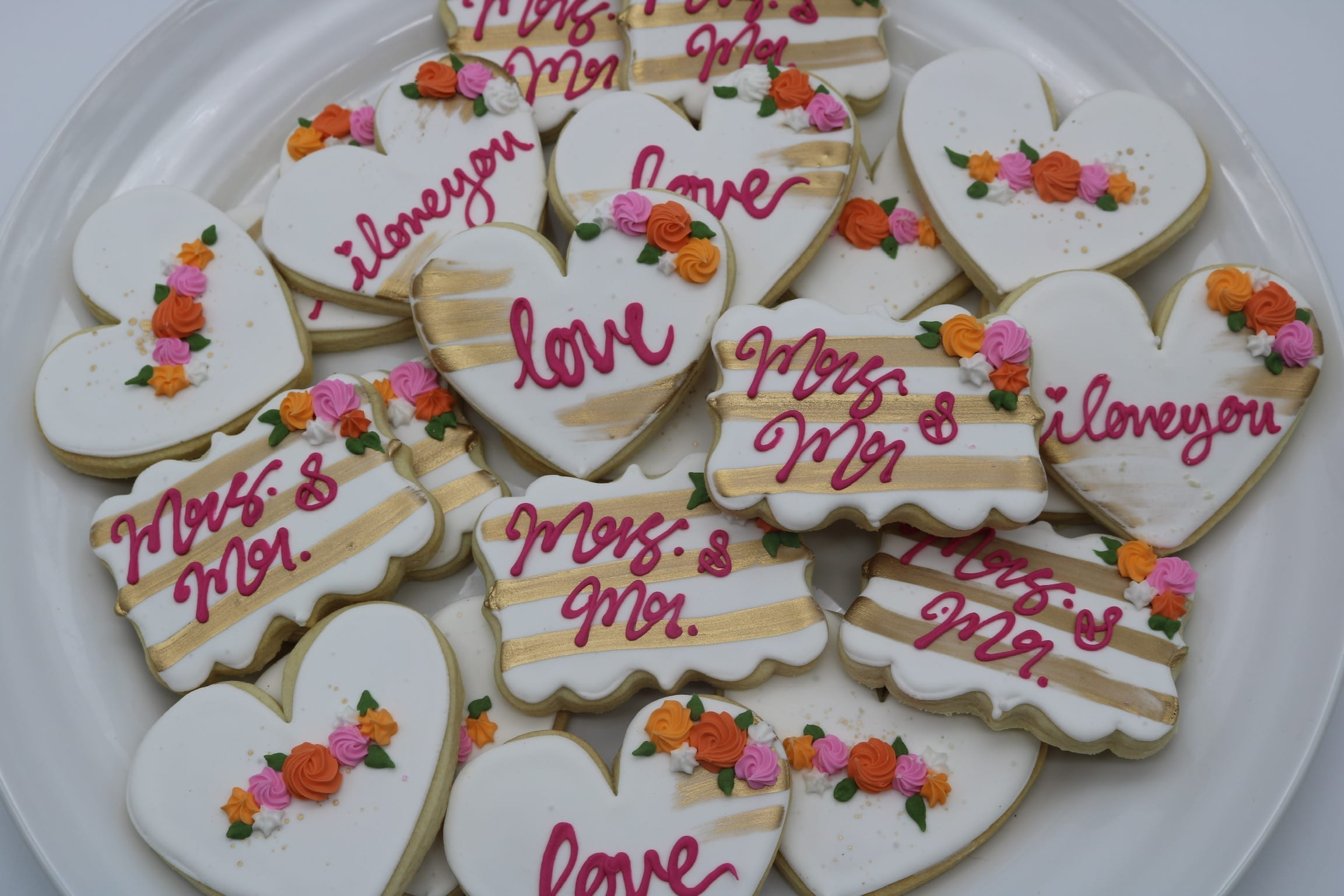 Wedding Shower Cookies with Pink and Orange Flowers and Gold Accents | 3 Sweet Girls Cakery