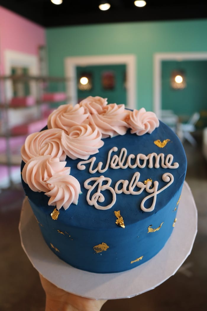 Welcome Baby Navy and Blush Cake | 3 Sweet Girls Cakery