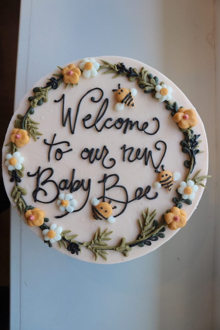 Welcome to Our New Baby Bee Cake | 3 Sweet Girls Cakery