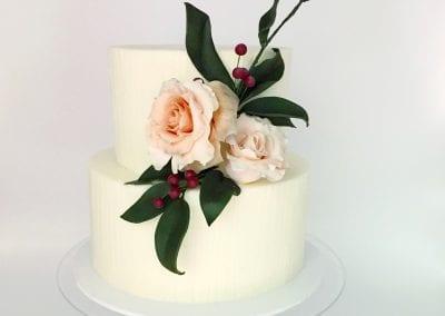 White 2 Tier Cake with Fresh Flowers | 3 Sweet Girls Cakery