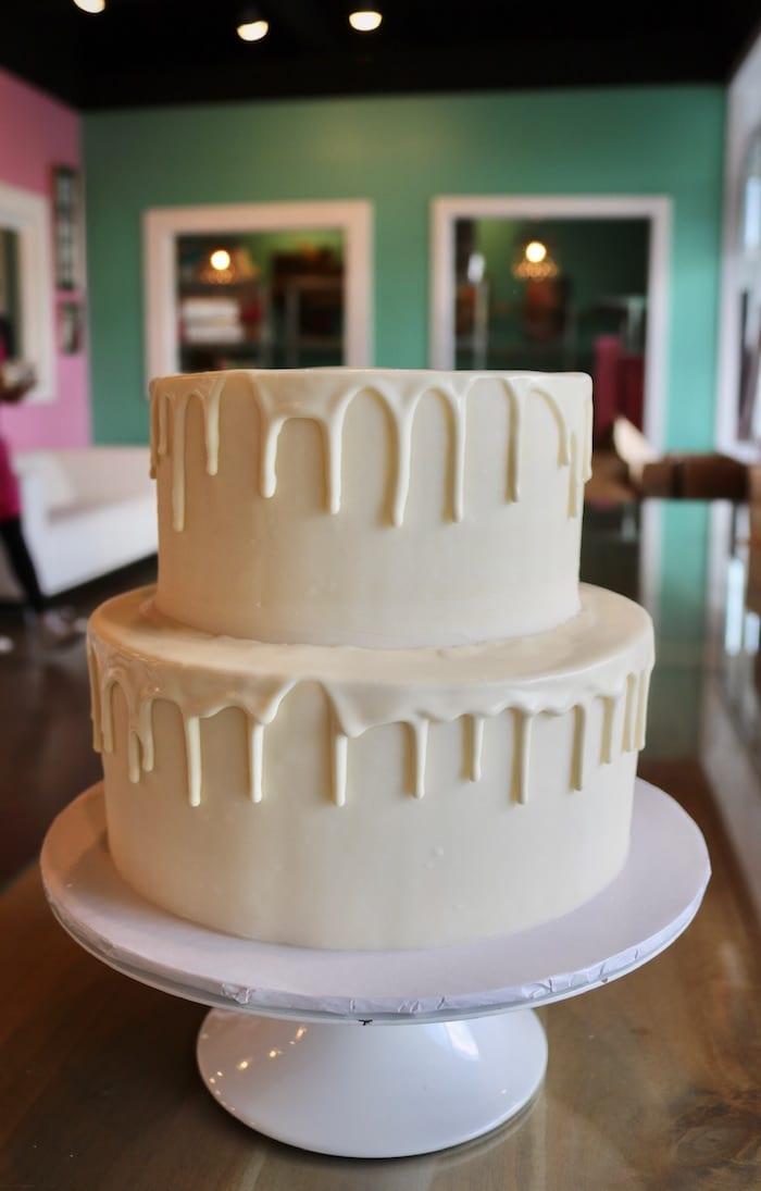 White 2 Tier Drip Cake   3 Sweet Girls Cakery