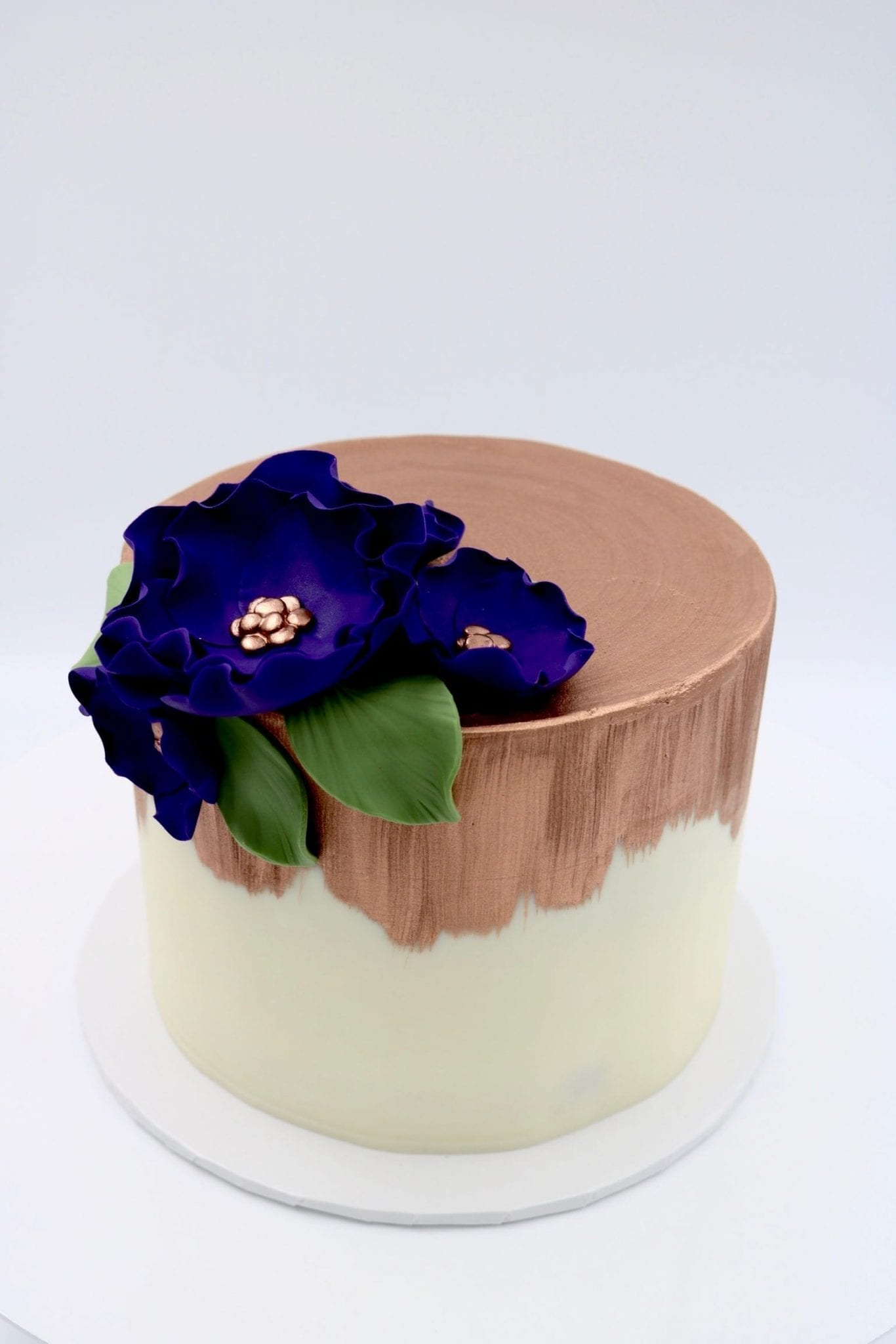 White Cake Brushed with Rose Gold and Plum Flowers | 3 Sweet Girls Cakery