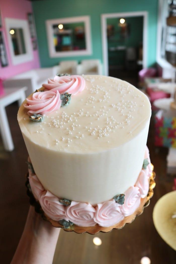 White Cake with Blush Rosettes | 3 Sweet Girls Cakery