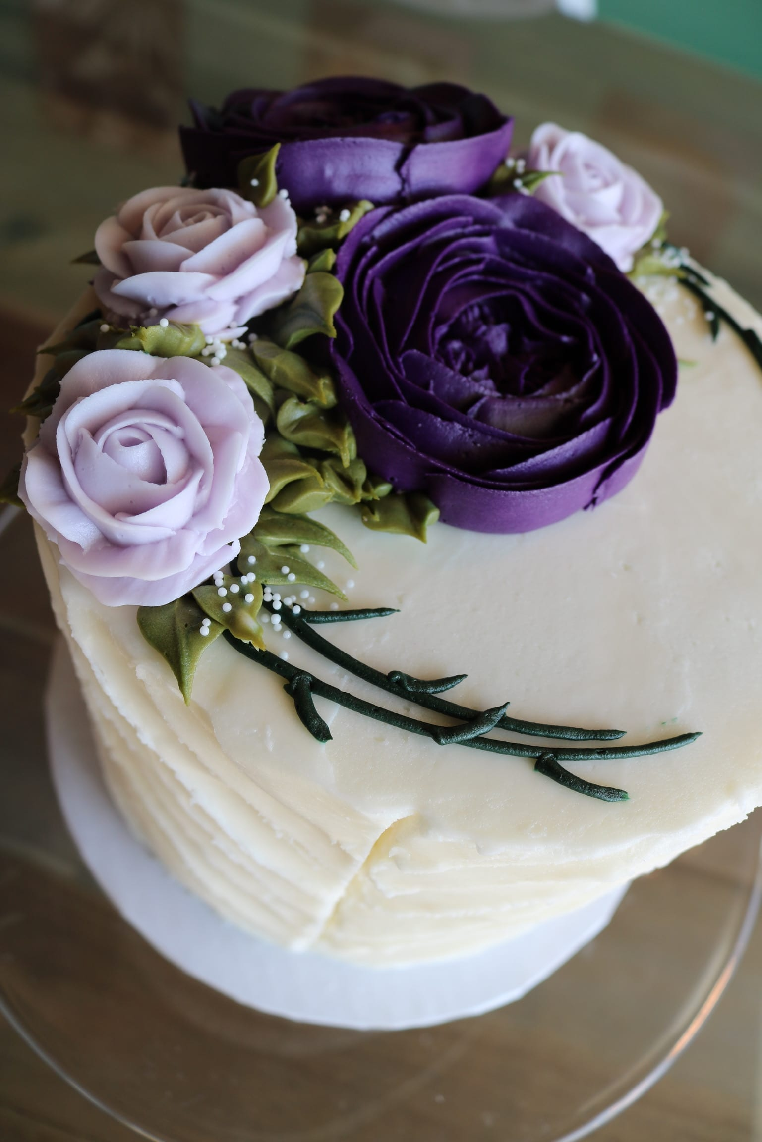 White Cake with Plum and Lavender Flowers | 3 Sweet Girls Cakery