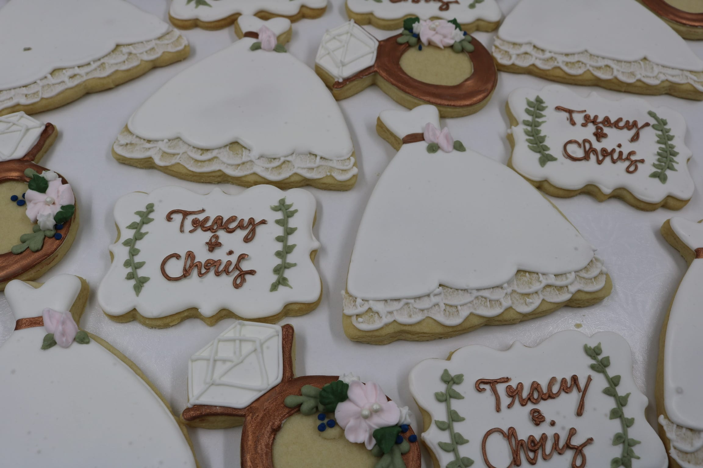 White, Rose Gold and Green Wedding Cookies | 3 Sweet Girls Cakery