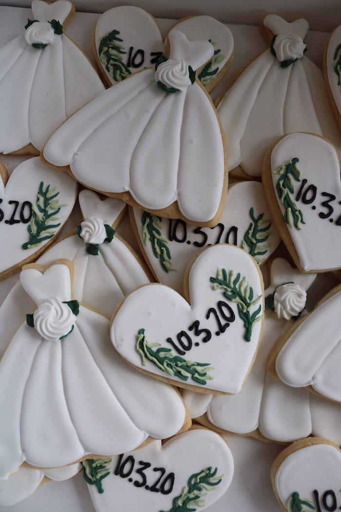 White Wedding Shower Cookies with Greenery | 3 Sweet Girls Cakery