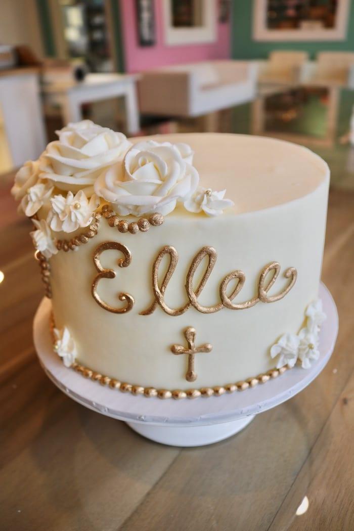 White and Gold Baptism Cake   3 Sweet Girls Cakery