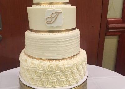 White and Gold Monogram Wedding Cake | 3 Sweet Girls Cakery