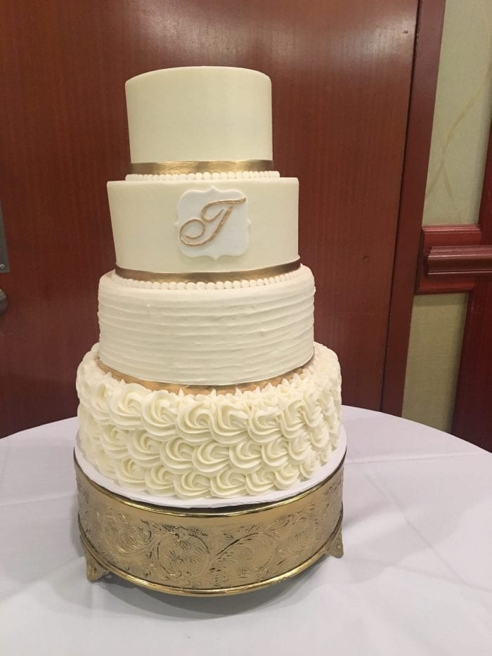 White and Gold Monogram Wedding Cake | 3 Sweet Girls Cakery