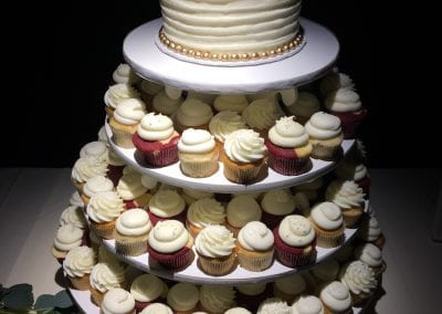 White and Gold Wedding Cake and Cupcake Tower | 3 Sweet Girls Cakery
