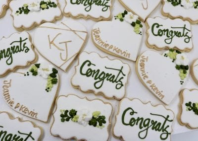 White and Gold Wedding Cookies with Greenery | 3 Sweet Girls Cakery