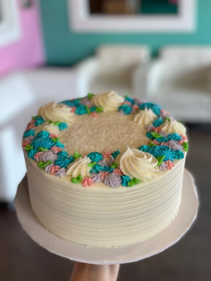 White textured Cake with Rosettes around Top | 3 Sweet Girls Cakery