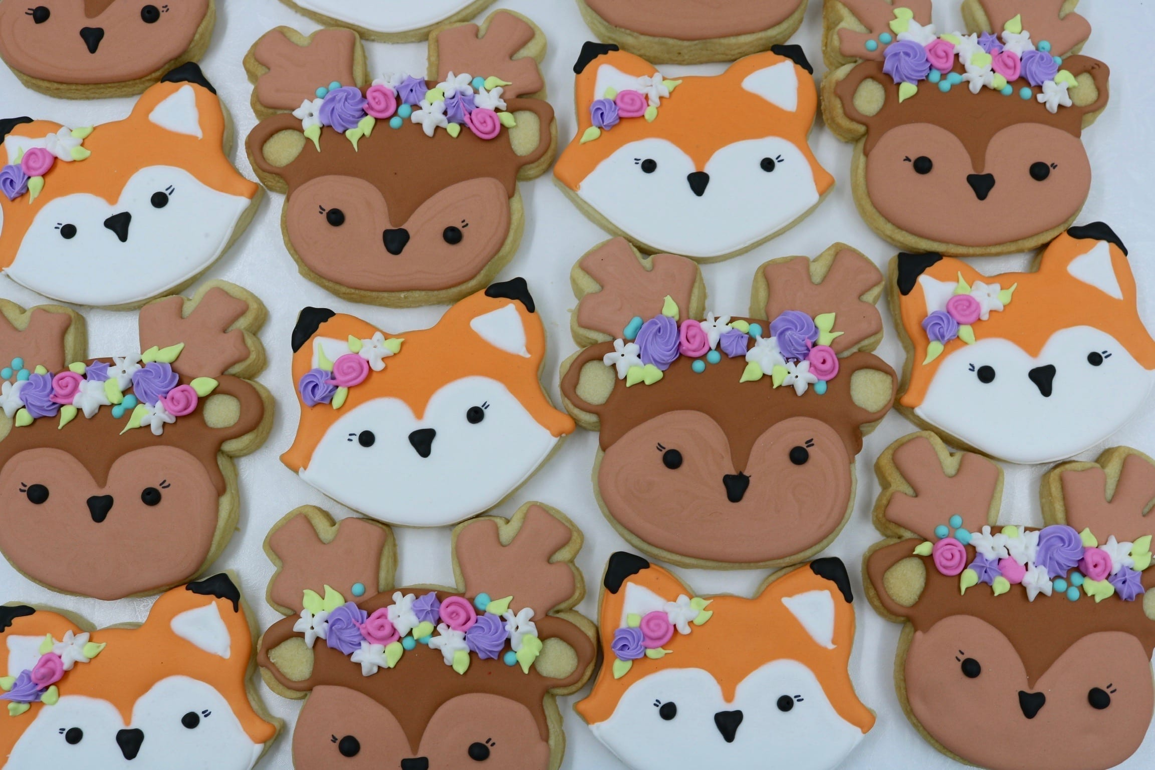 Woodland Animal Cookies with Flower Garlands | 3 Sweet Girls Cakery