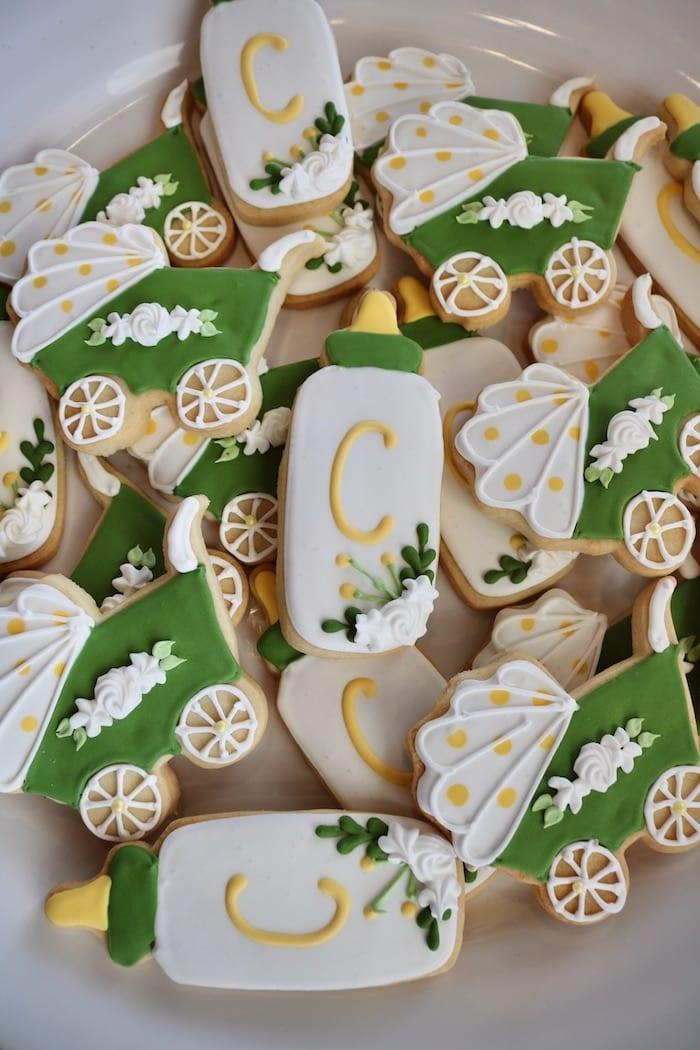 Yellow, Green and WHite Baby Shower Cookies | 3 Sweet Girls Cakery