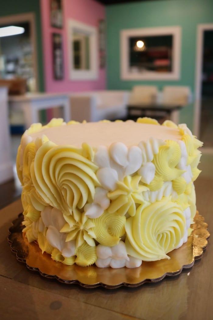 Yellow and White Textured Rosette Cake   3 Sweet Girls Cakery