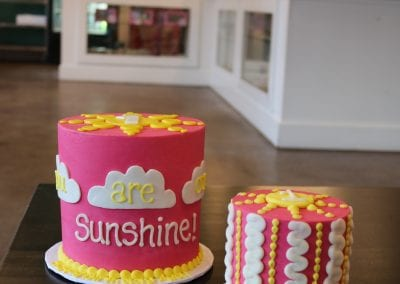 You Are My Sunshine Cake and Smash Cake Pink and Yellow | 3 Sweet Girls Cakery