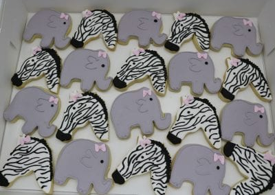 Zebra and Elephant Cookies for Baby SHower with Pink Bows | 3 Sweet Girls Cakery