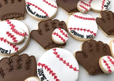 Baseball and Baseball Glove Cookies | 3 Sweet Girls Cakery