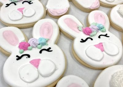 Easter Bunny Cookies with Rosettes   3 Sweet Girls Cakery