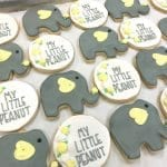 Elephant Baby Shower Cookies with Yellow Accents