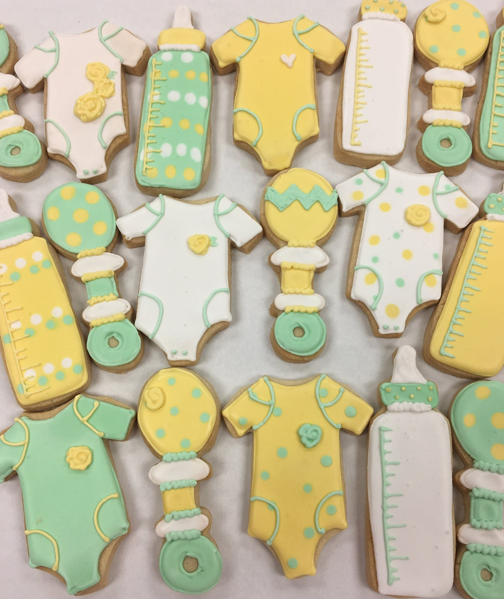 Green and Yellow Baby Cookies | 3 Sweet Girls Cakery