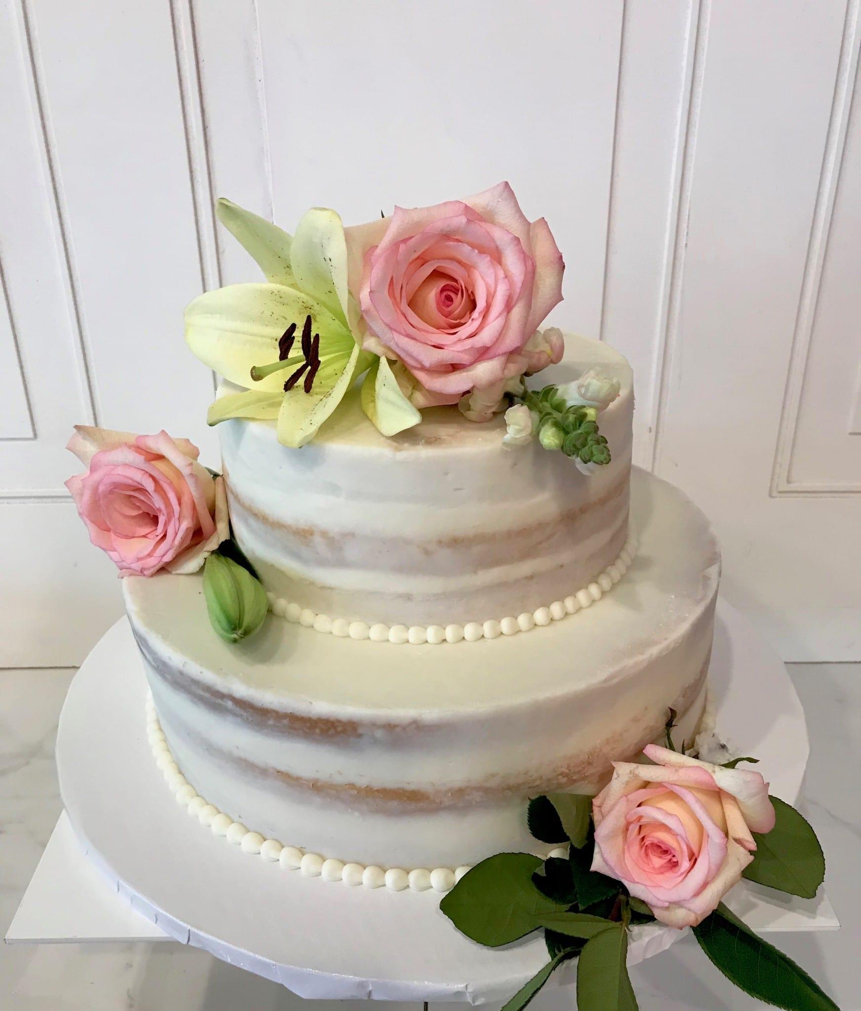Naked Wedding Cake with Pink Roses   3 Sweet Girls Cakery