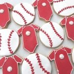 Red Baby Onsie and Baseball Cookies